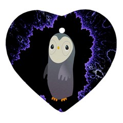 Fractal Image With Penguin Drawing Heart Ornament (Two Sides)