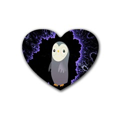 Fractal Image With Penguin Drawing Rubber Coaster (Heart)