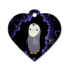 Fractal Image With Penguin Drawing Dog Tag Heart (Two Sides)