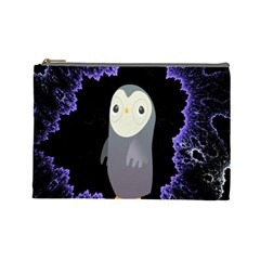 Fractal Image With Penguin Drawing Cosmetic Bag (Large)