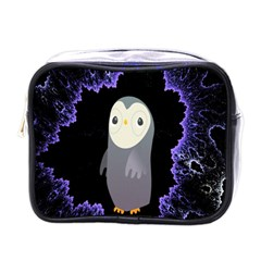 Fractal Image With Penguin Drawing Mini Toiletries Bags