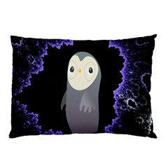 Fractal Image With Penguin Drawing Pillow Case (two Sides)