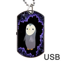 Fractal Image With Penguin Drawing Dog Tag USB Flash (One Side)