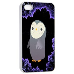 Fractal Image With Penguin Drawing Apple iPhone 4/4s Seamless Case (White)