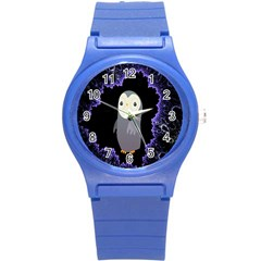 Fractal Image With Penguin Drawing Round Plastic Sport Watch (S)