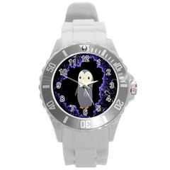 Fractal Image With Penguin Drawing Round Plastic Sport Watch (L)