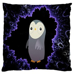 Fractal Image With Penguin Drawing Large Cushion Case (two Sides)