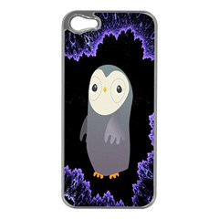Fractal Image With Penguin Drawing Apple Iphone 5 Case (silver)