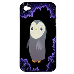 Fractal Image With Penguin Drawing Apple Iphone 4/4s Hardshell Case (pc+silicone)
