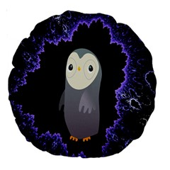 Fractal Image With Penguin Drawing Large 18  Premium Round Cushions