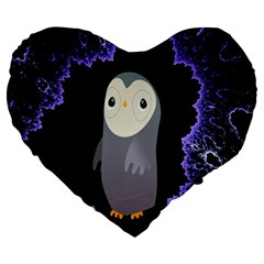 Fractal Image With Penguin Drawing Large 19  Premium Heart Shape Cushions