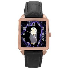 Fractal Image With Penguin Drawing Rose Gold Leather Watch