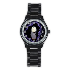 Fractal Image With Penguin Drawing Stainless Steel Round Watch