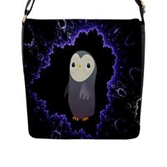Fractal Image With Penguin Drawing Flap Messenger Bag (l)