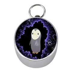 Fractal Image With Penguin Drawing Mini Silver Compasses