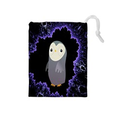 Fractal Image With Penguin Drawing Drawstring Pouches (medium)