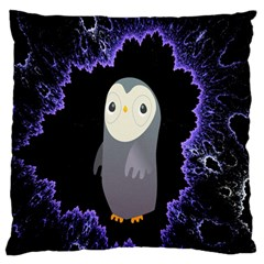 Fractal Image With Penguin Drawing Large Flano Cushion Case (One Side)