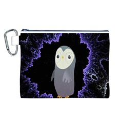 Fractal Image With Penguin Drawing Canvas Cosmetic Bag (L)