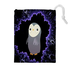Fractal Image With Penguin Drawing Drawstring Pouches (Extra Large)