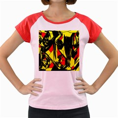 Easy Colors Abstract Pattern Women s Cap Sleeve T Shirt