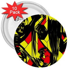 Easy Colors Abstract Pattern 3  Buttons (10 pack)