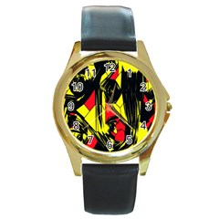 Easy Colors Abstract Pattern Round Gold Metal Watch