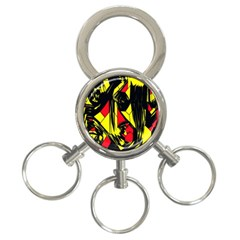 Easy Colors Abstract Pattern 3-Ring Key Chains