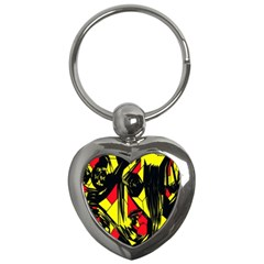 Easy Colors Abstract Pattern Key Chains (heart)