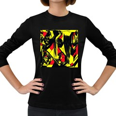 Easy Colors Abstract Pattern Women s Long Sleeve Dark T Shirts