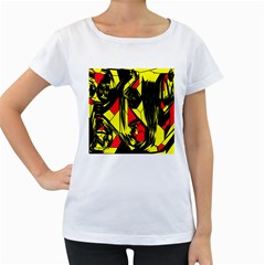 Easy Colors Abstract Pattern Women s Loose-Fit T-Shirt (White)