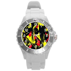 Easy Colors Abstract Pattern Round Plastic Sport Watch (L)