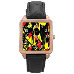 Easy Colors Abstract Pattern Rose Gold Leather Watch