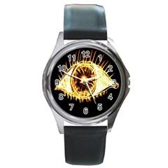 Flame Eye Burning Hot Eye Illustration Round Metal Watch