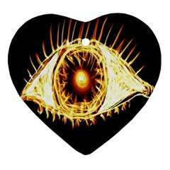 Flame Eye Burning Hot Eye Illustration Ornament (heart)