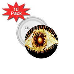 Flame Eye Burning Hot Eye Illustration 1.75  Buttons (10 pack)