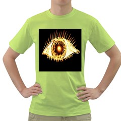 Flame Eye Burning Hot Eye Illustration Green T Shirt