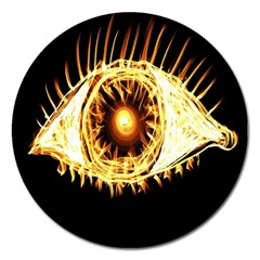 Flame Eye Burning Hot Eye Illustration Magnet 5  (Round)