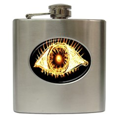 Flame Eye Burning Hot Eye Illustration Hip Flask (6 oz)