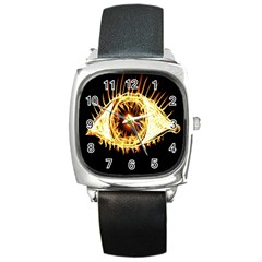 Flame Eye Burning Hot Eye Illustration Square Metal Watch