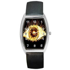 Flame Eye Burning Hot Eye Illustration Barrel Style Metal Watch