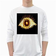 Flame Eye Burning Hot Eye Illustration White Long Sleeve T Shirts