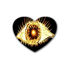 Flame Eye Burning Hot Eye Illustration Rubber Coaster (Heart)