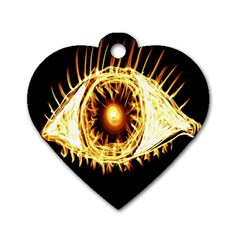 Flame Eye Burning Hot Eye Illustration Dog Tag Heart (One Side)