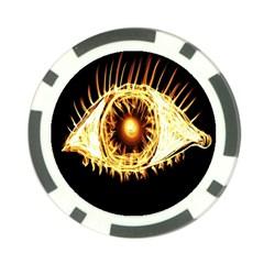 Flame Eye Burning Hot Eye Illustration Poker Chip Card Guard