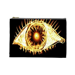 Flame Eye Burning Hot Eye Illustration Cosmetic Bag (Large)