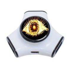 Flame Eye Burning Hot Eye Illustration 3-Port USB Hub