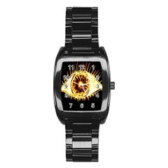 Flame Eye Burning Hot Eye Illustration Stainless Steel Barrel Watch