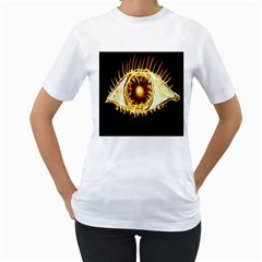 Flame Eye Burning Hot Eye Illustration Women s T Shirt (white)