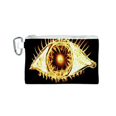 Flame Eye Burning Hot Eye Illustration Canvas Cosmetic Bag (S)