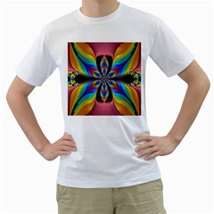 Fractal Butterfly Men s T-Shirt (White) (Two Sided)